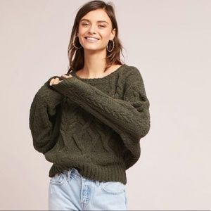 Sleeping on Snow Cable Knit Cropped Sweater